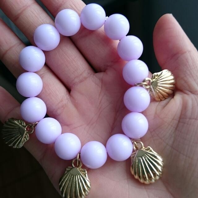 日系甜美馬卡龍貝殼串珠手環 粉紫色