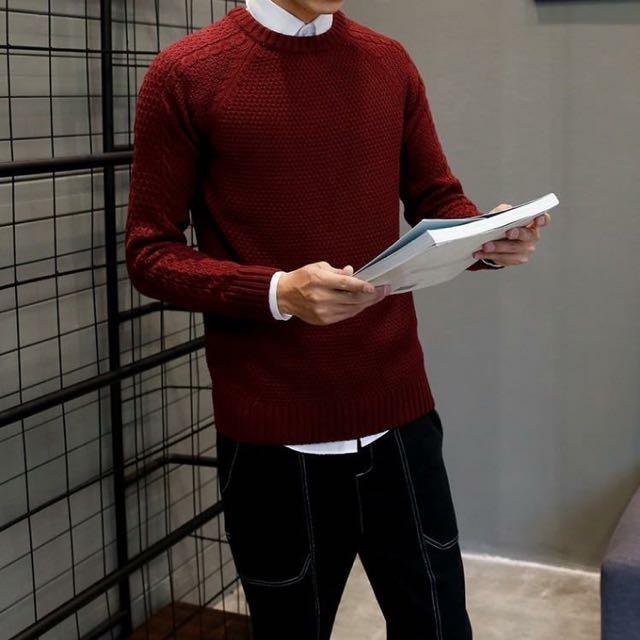 (預購)韓版重磅針織毛衣 男士 酒紅色