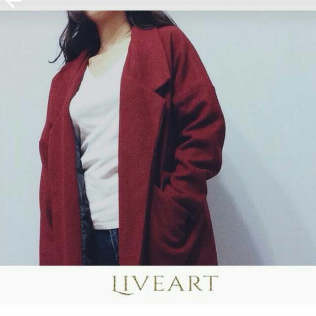 全新 酒紅色 長版西裝外套
