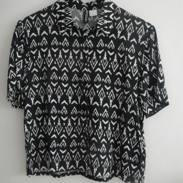 Black And White Print Collared Shirt Sz S - H&M