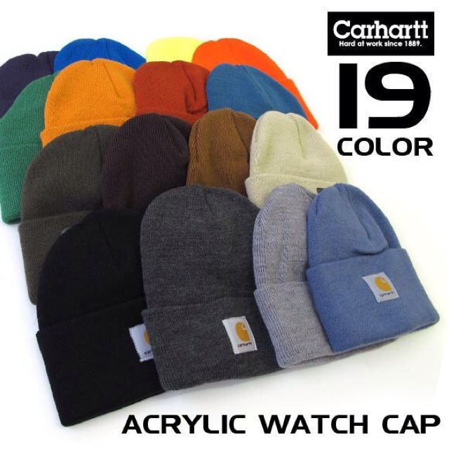 Carhart 反摺素色毛帽