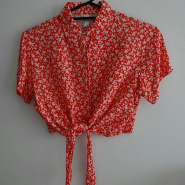 Collared Red Floral Print Crop Top Sz S - American Apparel