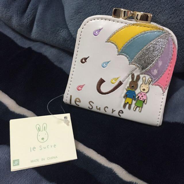 Ie Sucre 白色兔兔扣式零錢包