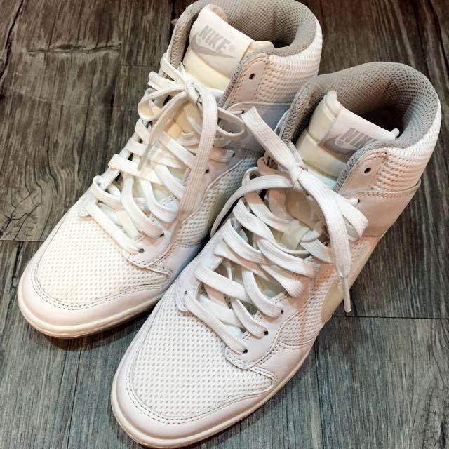 NIKE 內增高 球鞋 籃球鞋 休閒鞋 全白 極新