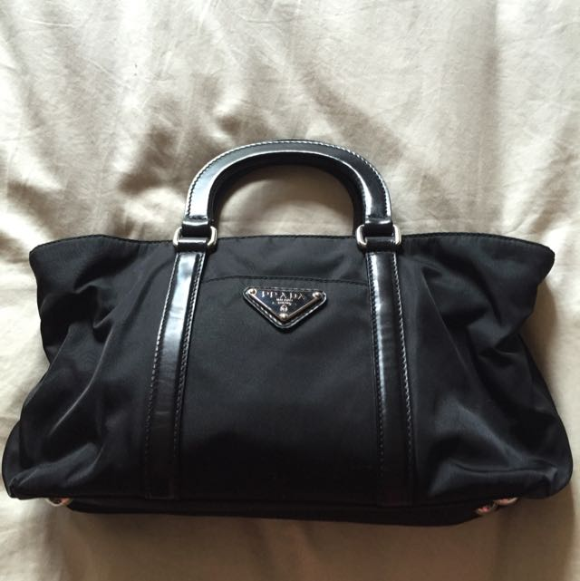 22a684a628fd ... where to buy prada handbag. black. with 2 handles. parachute material.  comes