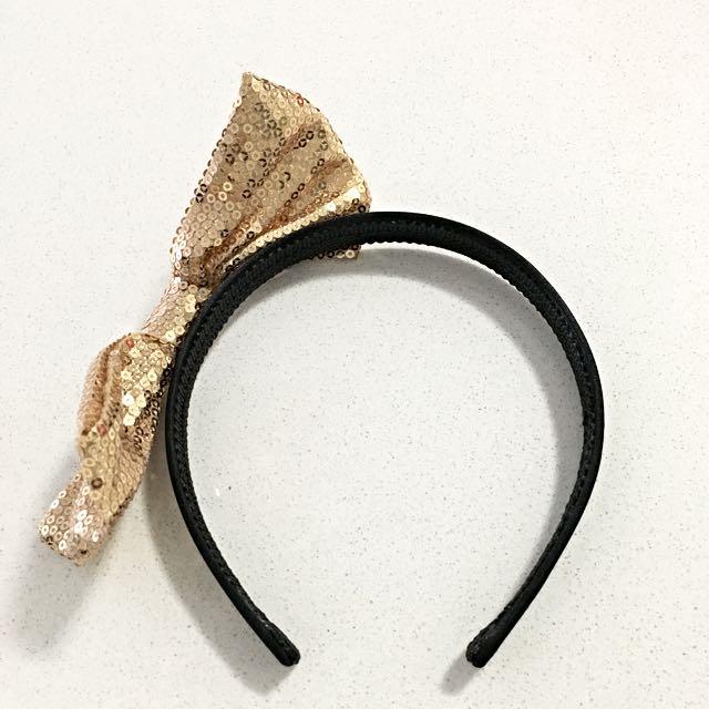 Preloved Forever21 Gold Bow Headband