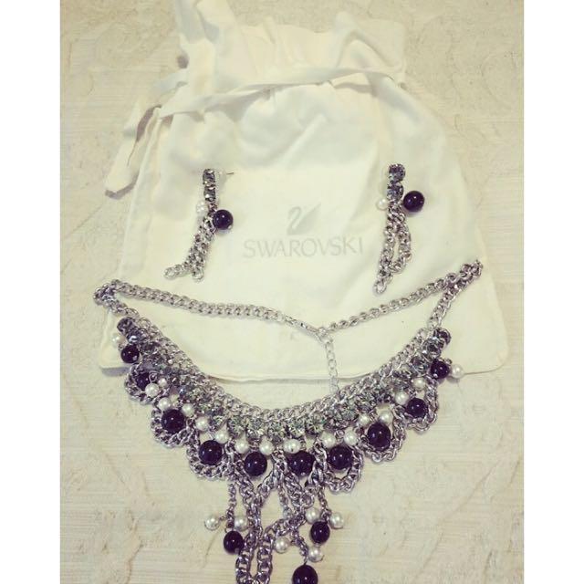 🍇🍇SWAROVSKI new Necklace & Earrings Set