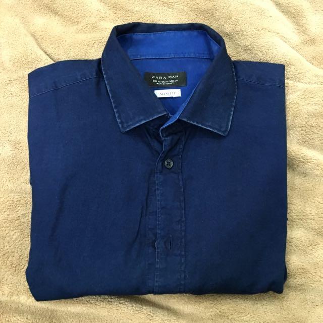 Zara 深藍色水洗質感襯衫 S號