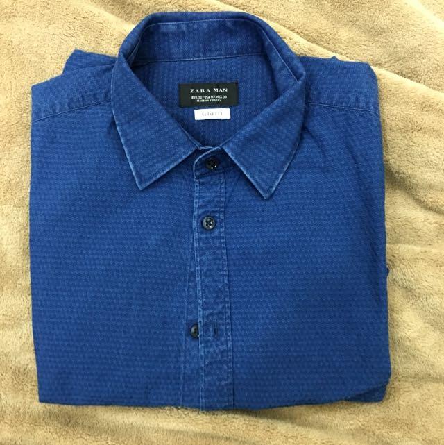 Zara 質感藍色紋路襯衫 S號
