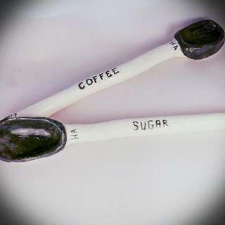 Sold. .  Please Like This If You Want Me To Make More.  2 X Ceramic Spoons. A Perfect Pair Of Spoon