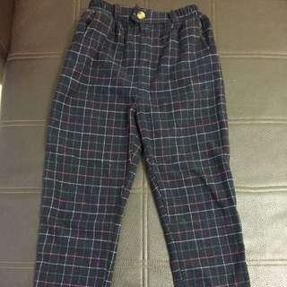 深藍格紋老爺褲