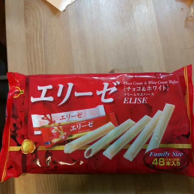 日本雙色威化棒-奶油&巧克力-130元