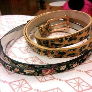 Asos豹紋與花細皮帶