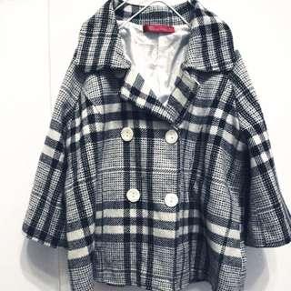 格子短版毛料西裝外套