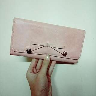 粉色蝴蝶結少女長夾