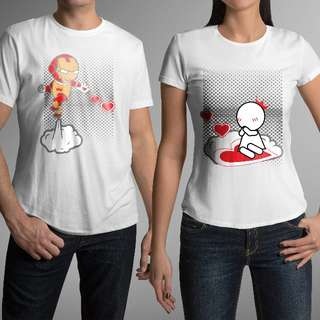 Cute Iron Man Matching Couple Shirts for Valentines Day Gift