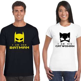 Batman & Catwoman Matching Couple Shirts for Valentines Day Gift