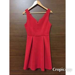 歐美奧黛莉赫本紅色氣質v領洋裝 #dressupforpArty
