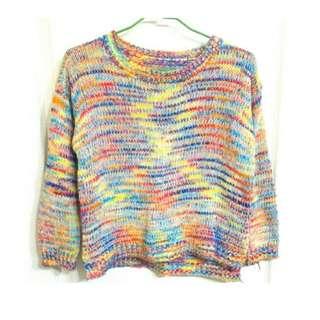 🚚 彩色 七彩 彩虹 針織 毛衣 長袖 長T