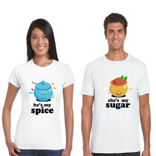 Sugar and Spice Matching Couple Shirts for Valentines Day Gift