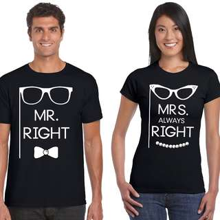 Mr & Mrs Right (Glasses) Matching Couple Shirts for Valentines Day Gift