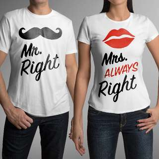 Mr & Mrs Right (Lips) Matching Couple Shirts for Valentines Day Gift