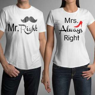 Mr & Mrs Right (Shoe) Matching Couple Shirts for Valentines Day Gift