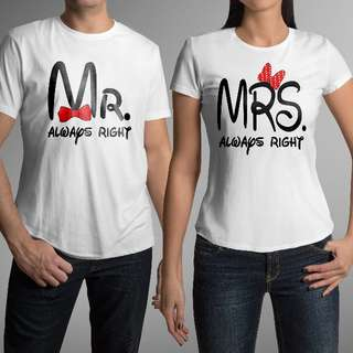 Mr & Mrs Right (Disney) Matching Couple Shirts for Valentines Day Gift