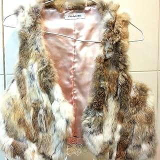 超柔軟 整件真兔毛粉色緞面內裡蕾絲下擺 皮草背心