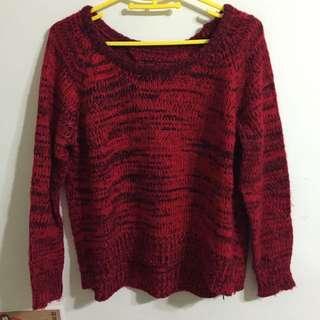 紅混黑毛衣