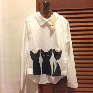 [Price Reduced] BNWT Pan Collared White Shirt With Kitty Prints