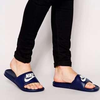 Nike LOGO 海軍藍 拖鞋
