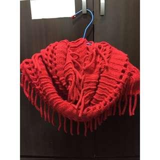 (二手)紅色 流蘇 圍巾