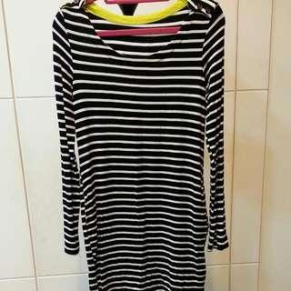 黑白橫條紋,莫代爾長版上衣,黃色撞色