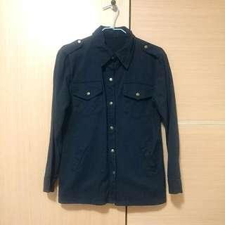 軍風銅扣襯衫