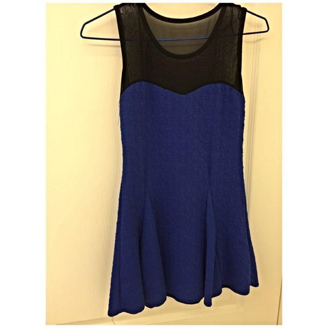 半紗背心連身裙-黑/藍