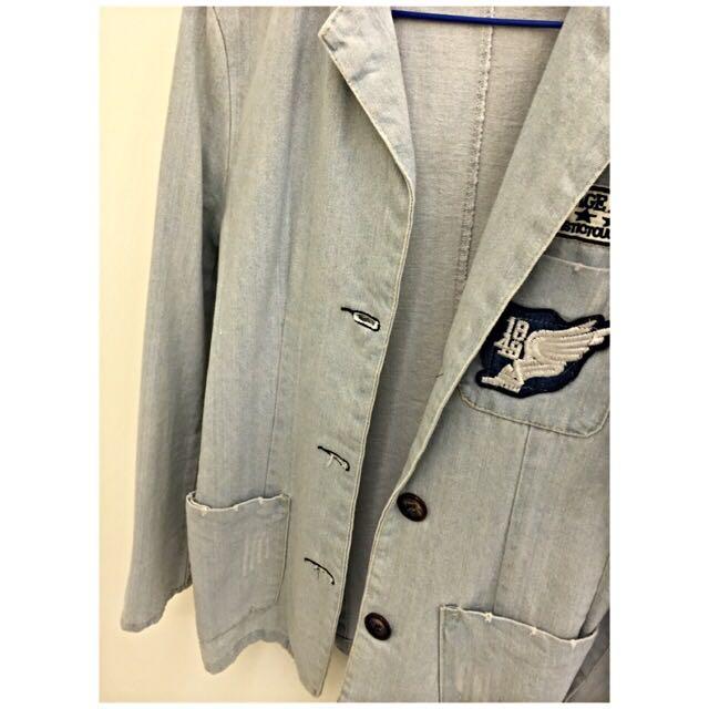 牛仔式西裝外套-淺藍