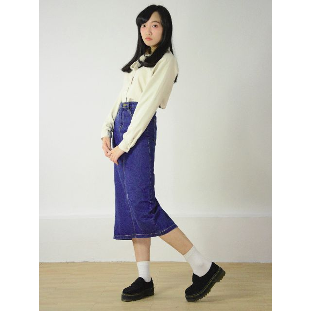 經典復古牛仔窄版長裙 / 深藍