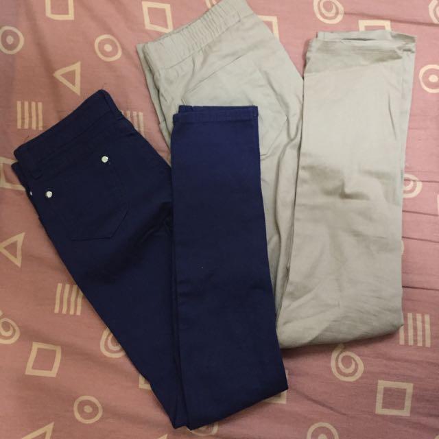 多色鉛筆褲貼腿褲窄管小腳長褲 有口袋 顯瘦 深藍米白