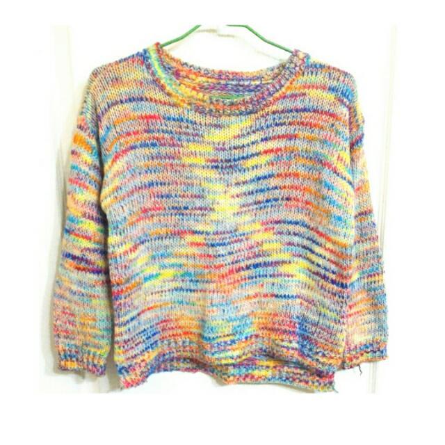 彩色 七彩 彩虹 針織 毛衣