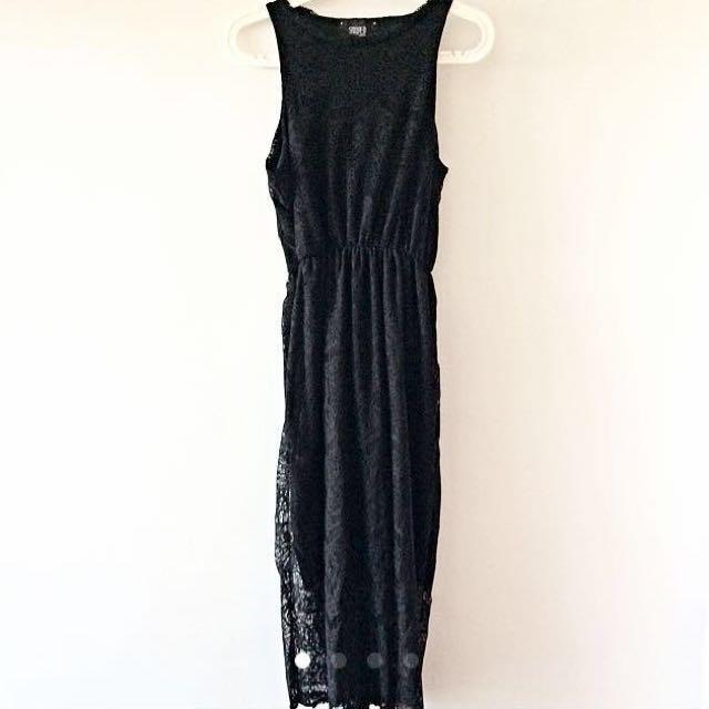 Black Maxi Laced Dress