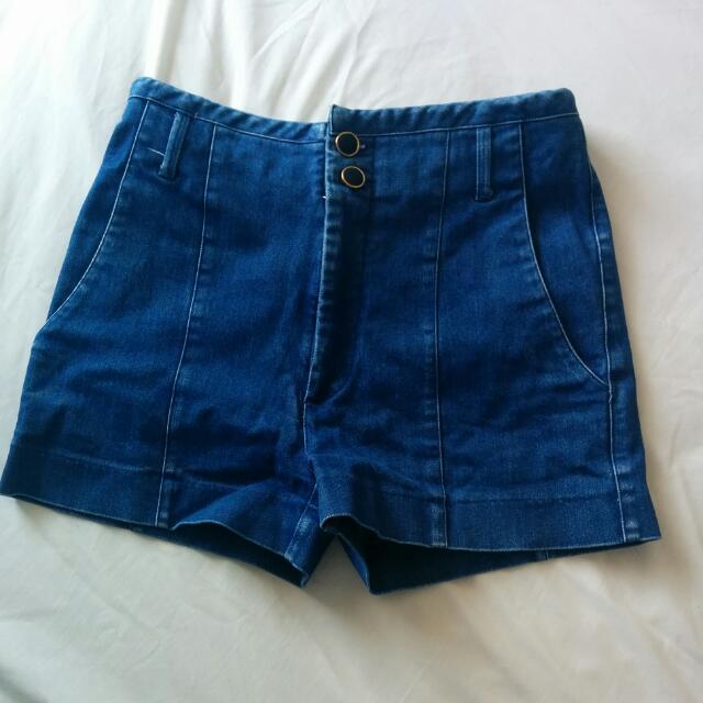 High Waisted Blue Denim Shorts