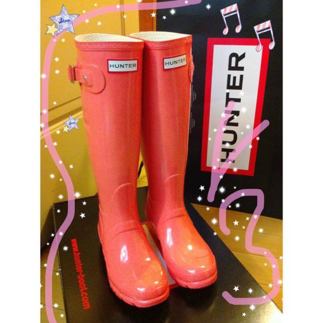 Hunter經典款威靈頓粉橘色長雨靴