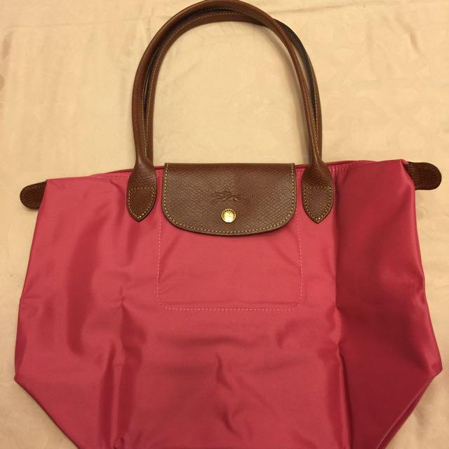 全新Longchamp 長柄S號包包,桃和米白各一