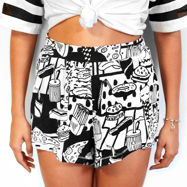 Monki Illustrated Shorts