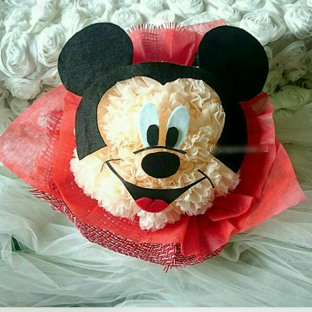 Unique paper mickey mouse flower bouquet, Women's Fashion on Carousell TD87