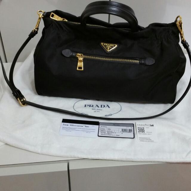 4166e1a13a5 PRADA TESSUTO SAFFIANO SHOPPING BAG (Model B1843M - NERO- BLACK WITH ...