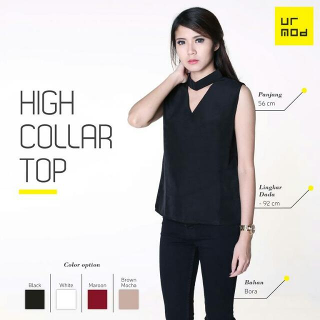 Topshop Inspired High Collar Keyhole Top