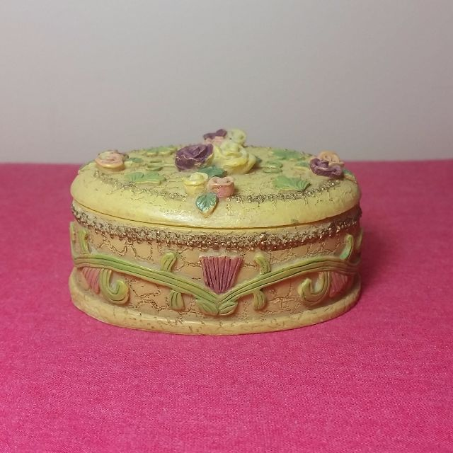 Vintage Porcelain Floral Trinket Jewellery Box