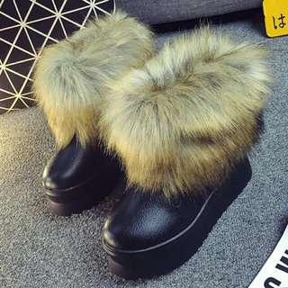全新現貨超保暖厚底毛毛防水雪靴加絨加厚